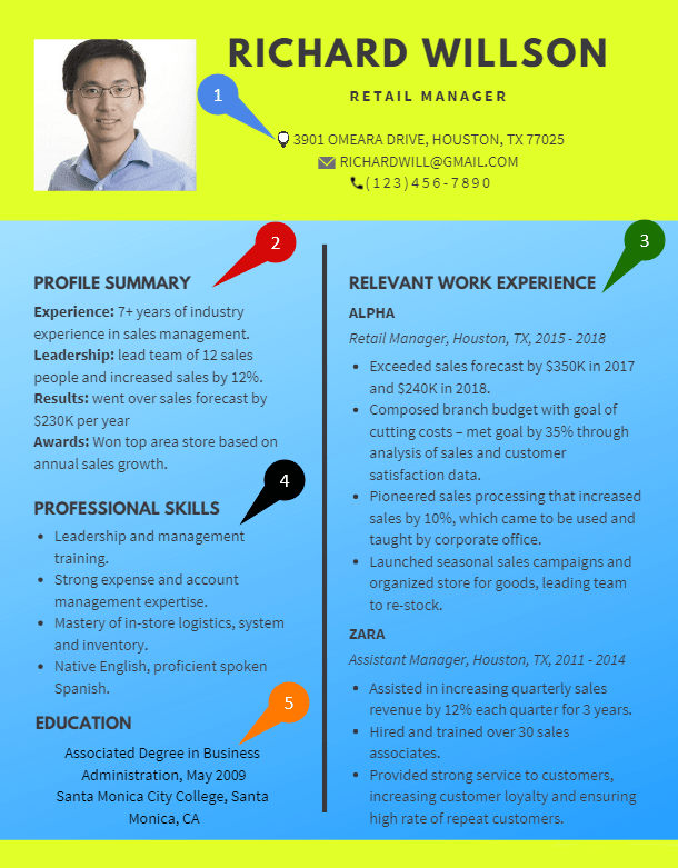 Combination or hybrid resume format - template