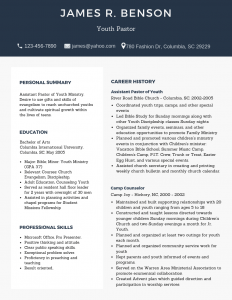 Youth pastor resume, resume sample