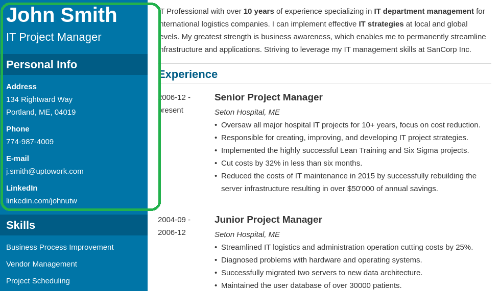 Header design example from the IT project manager best resume template