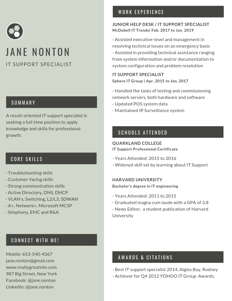 IT support specialist resume example