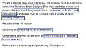 screenshot of job requirements