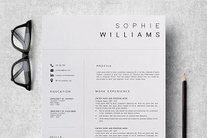 resume, pencil and scissors