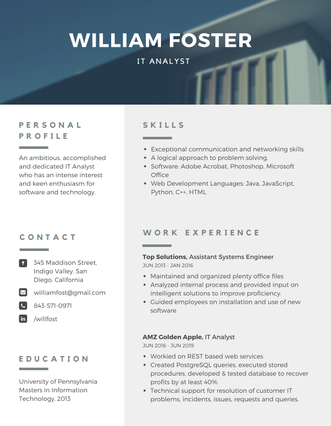 IT analyst resume